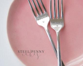 Cake Forks, Hand stamped, vintage (pair) , Sweet, wedding cake forks, dessert forks (Ready to ship!)