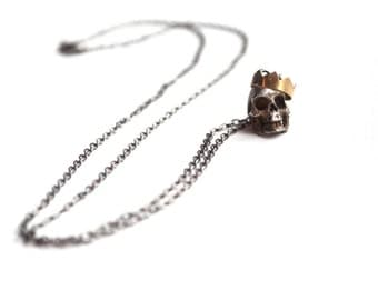 Crowned Skull Necklace. Sterling Silver Chain with Brass Skull and Crown Pendant. The Mad King Necklace