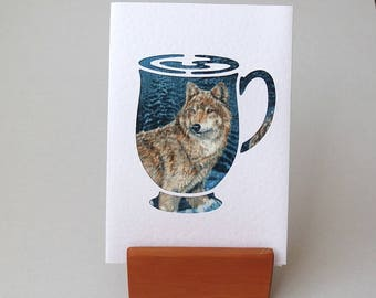 "WOLF fabric card in cutout coffee cup shape.  6"" x 4"" with envelope. Wolves fabric greeting card on blue - white textured card."