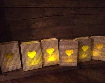5 Mini Heart Luminaries, Book Wedding, Love Story, Book Decor, Paper Lanterns, Book Party, Wedding Decor, Book Theme Wedding, Weddings, Love