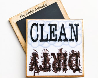 Clean Dirty Dishwasher Magnet, Dishes, Housewarming Gift, New Home, Reminder Magnet
