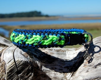 Custom Danube Paracord Dog Collar, Choose Your Colors & Closure Type, Strong Thick Dog Collar, Wide Braided Collar, Cute Sight Hound Collar