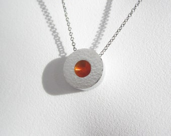 Hammered Dot Necklace – Modern Contemporary Jewelry – Industrial Necklace – Industrial Jewelry – Citrus Orange Pendant  – Made to Order