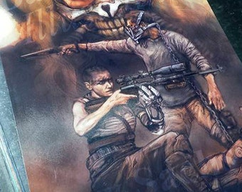 Mad Max Fury Road / Black and Chrome Special, Set of (2) Luster Prints (Furiosa, Mad Max, Immortan Joe, Tom Hardy, Charlize Theren)