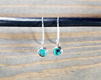 Turquoise Earrings, Dainty  Earrings, Sterling Silver Drop, Blue Turquoise Jewelry, Small Blue Earrings, Southwest Earrings
