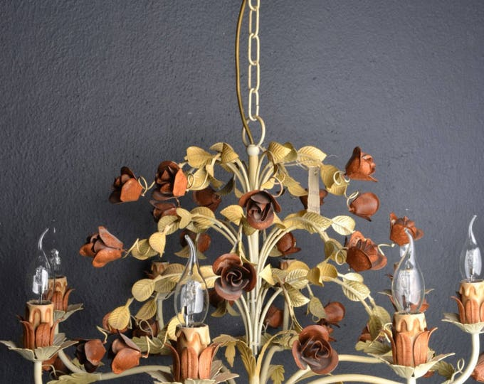 Italian tole chandelier with roses (8 light bulbs)