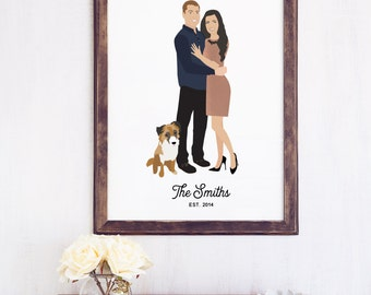 Engagement Portrait Custom Couple Portrait, First Anniversary Gift for Husband or Wife, Cartoon Couple Print