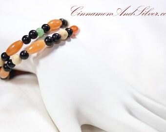 Orange and Black Hippie Gemstone Adjustable Memory Wire Bangle Bracelet, Aventurine Gem Memory Wire Bracelet, Coil Wrap Seed Bead Bracelet