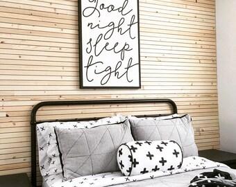 "GOOD NIGHT Sleep Tight Painted Wood Sign - 24x36"" | Wall decor (Rustic Chic, Modern Farmhouse, Fixer Upper, nursery decor, bedroom art)"