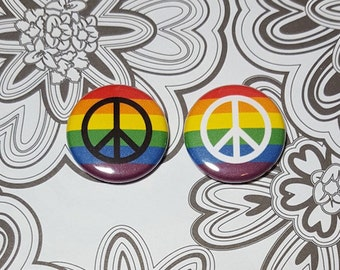 LGBT Rainbow Flag With Peace Sign Pinback Button or Magnet