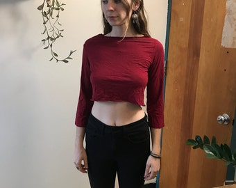 Upcycled Red Cotton Long Sleeve Crop Top