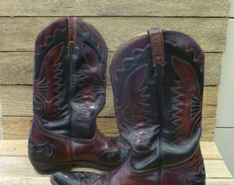 Vintage LOBLAN Men's EU 45 Black & Oxblood Leather Cowboy Western Boots