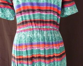 Terri Ellen tribal pleated tea length 1980s dress size 10P petite