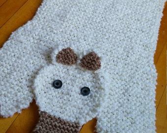 Hand Knit 34 Inch Off White Polar Bear Rug/mat/blanket