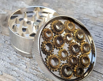 Steampunk Metal Herb Grinder - Steampunk Mary Flower Spice Crusher - mint 420 grinder