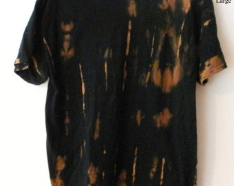 Tie dye T-Shirt, Black Tee shirt, Graphic Tee shirt, acid wash, Grunge, reverse tie dye, Rocker, retro, tops, gift under 15