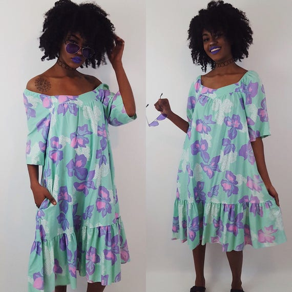 80's Vintage Pastel Pink Blue Purple Floral Womens Muu Muu - Midi Dress Medium Large XL Tent Dress - Floral Print Sundress With Pockets