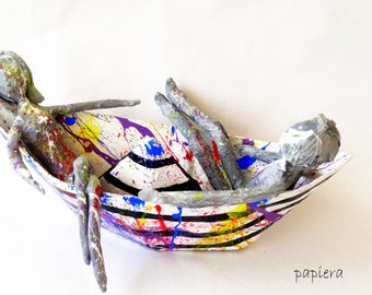 paper mache,relationship,friendship,wedding gift,free shipping,colorful,white,black,art,boat,ship,friend,love,art sculpture,gift,couple.