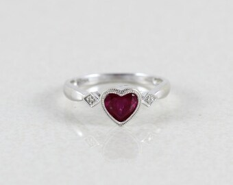10K White Gold Heart Ring Ruby and Diamond Size 7 Sweetheart Ring Promise Ring