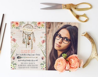 Boho Dreamcatcher Graduation Announcements - Party Invitations for High School Grad - Bohemian Floral Dream Catcher Invites