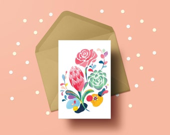 Cheerful Australian Flora Greeting Card // Colourful Pink, Peach, Navy, Yellow // Vibrant Protea, Rose and Succulent