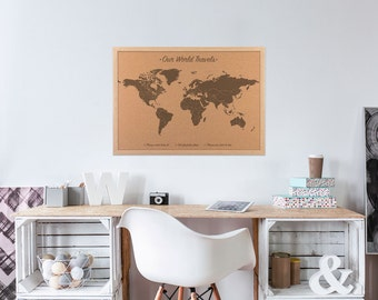 Push pin world map etsy push pin world map cork board map personalized cork map with 100 map pins gumiabroncs Choice Image