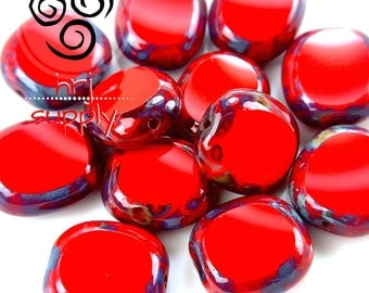 12x14mm Czech Glass Opaque Red Picasso Matte Diffusion Window Cut cushion beads - Lot size 12