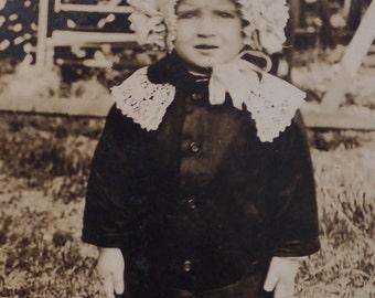 RPPC Edwardian Child in Bonnett Real Photo Postcard Antique Vintage Sepia Photograph Gelatin Print 1900s Photo Card