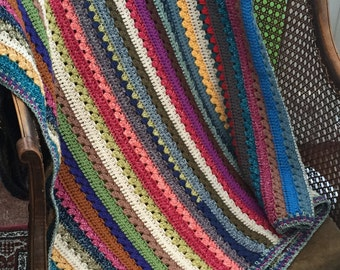 Hand made crochet striped throw, blanket, afghan, rug