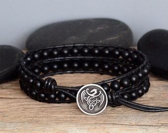 Mens Bohemian Beaded Leather Wrap Bracelet, Matte Black Onyx Bracelet, Black Stone and Leather Wrap, Gift For Him