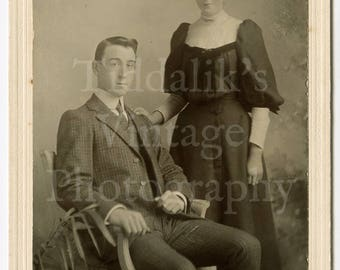 Cabinet Card Photo - Victorian / Edwardian Young Attractive Couple, Man Woman, Smart Suit Dress, Hair Up Portrait - Portland Studios London