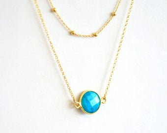 Turquoise connector satellite chain double layered necklace