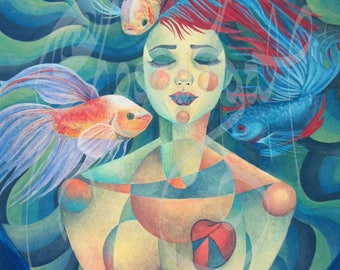 "Original Symbolic art - Acrylic painting - ""with full heart"""