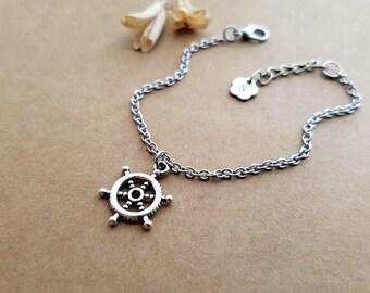 Rudder Bracelet, best friends jewelry, initial bracelet, rudder jewelry, tiny rudder bracelet, best friend bracelet, nautical bracelet