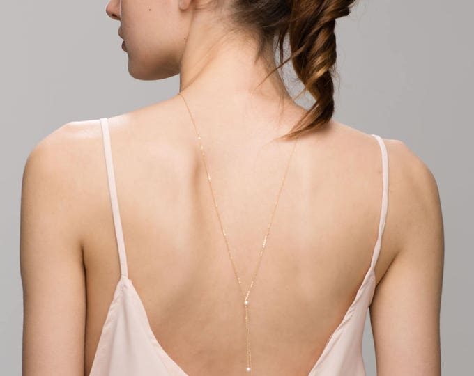 Mini Pearls Back Necklace // Bridal Jewelry for Low Back wedding Dress, Gold or Sterling silver Back Necklace
