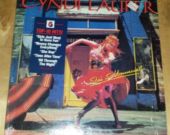 80s Cyndi Lauper She's So Unusual full length LP album srhinkwrap hype sticker record vinyl new wave pop hit CBS Girls Just Want to Have Fun