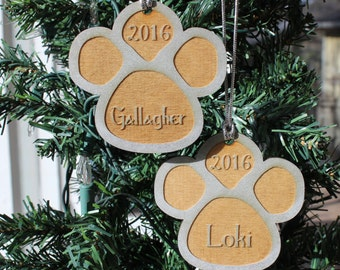 Personalized Christmas Ornament, Pet Name And Year, Engraved On Wood, Silver, Gift For Pet Lover Furry Friend Dog Cat Animal Paw Print