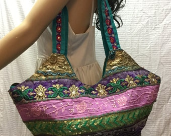Hobo Bag, Large Embroidered Purse, Gold Sequin, Shoulder Bag