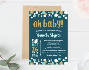 Baby Shower, Invitation, Invite, Oh Baby, New Baby, Baby Boy, Baby Girl, Party, Gold, Glitter, Green, Aqua, Blue, White, Polkadot, Bubble
