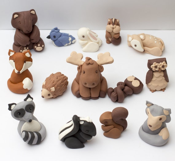 Fondant woodland animal cake toppers