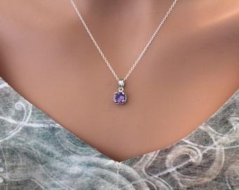Sterling Silver Purple February Birthstone Necklace, February Birthstone Necklace, February Birthstone Charm Necklace, February Birthday