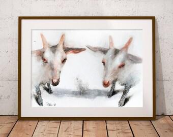 Original watercolor painting Two White Goats. Watercolor pet portrait. Watercolor animal Illustration. Farm animal wall art.