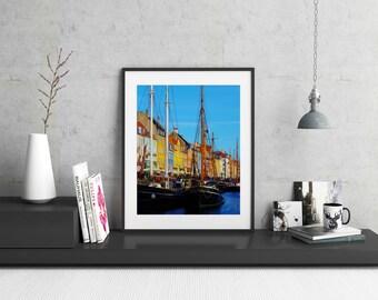 Travel Decor, Hygge Photography, Nyhavn, Travel Photography, Denmark, Hygge Art, Copenhagen Photo, Denmark Harbor, Travel Art, Boat Photo