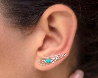 Turquoise Ear Climbers, Climber Earrings, Ear Cuffs, Ear Crawlers, Boho Earrings,Turquoise Earrings For Women,Ear Sweeps,Earring Pins, JE235