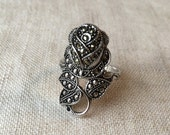 Vintage Rose Marcasite Ring, Clark Coombs, Silver  PK164