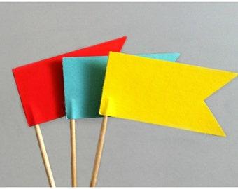 Flag Cupcake Topper - Carnival Cupcake Topper - Circus Flag Decoration - Flag Cupcake Picks - 1st Birthday - Carnival Wedding - Baby Shower