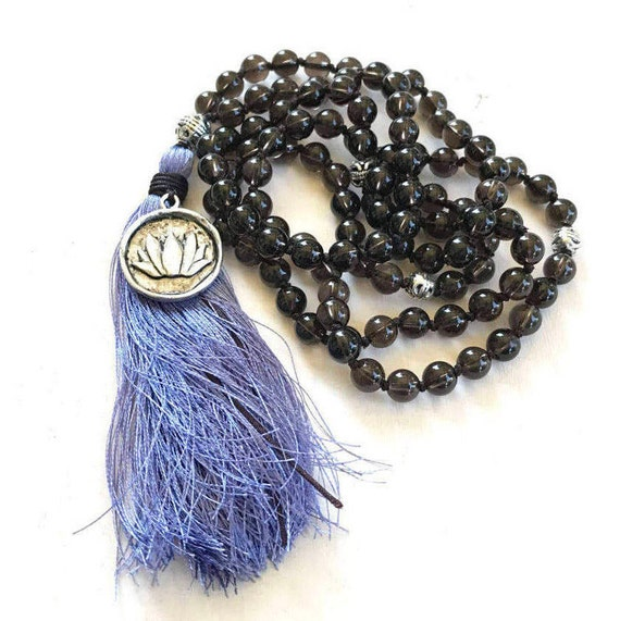 Inner Strength Mala Beads, Smoky Quartz Mala, Lotus Flower Mala Beads, Hand Knotted Gemstone Mala, Mala Beads 108, Yoga Meditation Beads