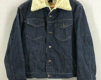 Vintage 70's Sears Roebucks Sherpa Lined Denim Jacket Sz 44R USA