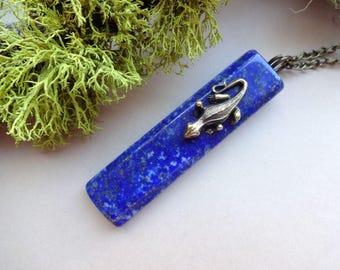 Lapis Lazuli Necklace- Lizard necklace - Lizard jewelry- Gemstone necklace- Gemstone Pendants