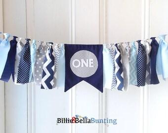 1ST birthday banner, decorations, navy, grey, gray, blue, first, highchair, cake smash, little man, rag tie garland, baby boy, photo prop
